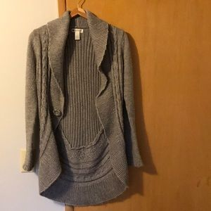cardigan wrap wool knit gray long Sweater XS